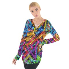 Color Play in Bubbles Women s Tie Up Tee