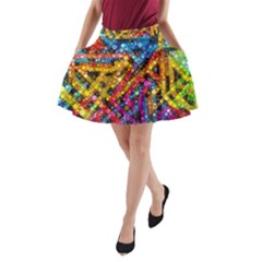 Color Play In Bubbles A Line Pocket Skirt