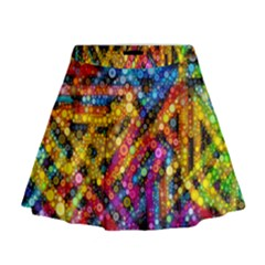 Color Play in Bubbles Mini Flare Skirt