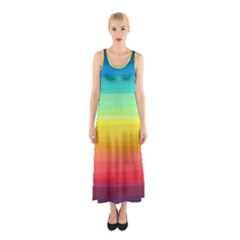 Sweet Colored Stripes Background Sleeveless Maxi Dress