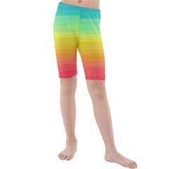 Sweet Colored Stripes Background Kid s Mid Length Swim Shorts