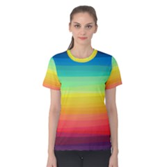 Sweet Colored Stripes Background Women s Cotton Tee