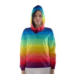 Sweet Colored Stripes Background Hooded Wind Breaker (Women)