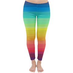 Sweet Colored Stripes Background Winter Leggings