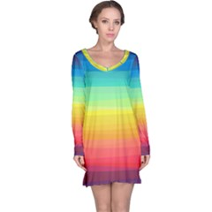 Sweet Colored Stripes Background Long Sleeve Nightdress