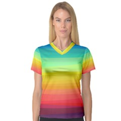 Sweet Colored Stripes Background Women s V-Neck Sport Mesh Tee