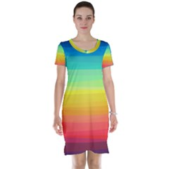Sweet Colored Stripes Background Short Sleeve Nightdress