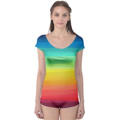 Sweet Colored Stripes Background Boyleg Leotard (Ladies)