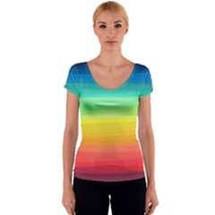 Sweet Colored Stripes Background Women s V-Neck Cap Sleeve Top