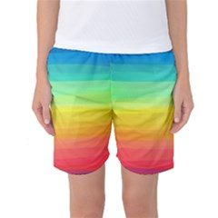 Sweet Colored Stripes Background Women s Basketball Shorts
