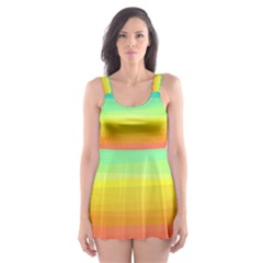 Sweet Colored Stripes Background Skater Dress Swimsuit