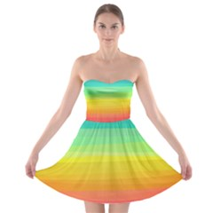 Sweet Colored Stripes Background Strapless Dresses