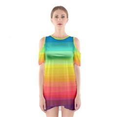Sweet Colored Stripes Background Cutout Shoulder Dress