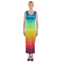 Sweet Colored Stripes Background Fitted Maxi Dress
