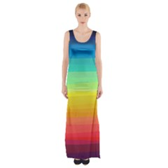 Sweet Colored Stripes Background Maxi Thigh Split Dress