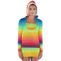 Sweet Colored Stripes Background Women s Long Sleeve Hooded T-shirt