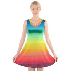 Sweet Colored Stripes Background V Neck Sleeveless Skater Dress