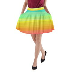 Sweet Colored Stripes Background A-Line Pocket Skirt