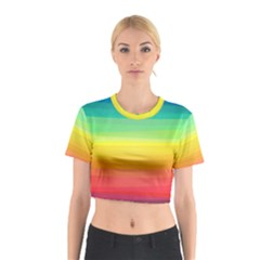 Sweet Colored Stripes Background Cotton Crop Top