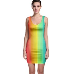 Sweet Colored Stripes Background Sleeveless Bodycon Dress