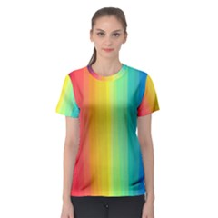 Sweet Colored Stripes Background Women s Sport Mesh Tee