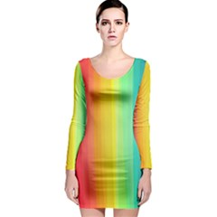 Sweet Colored Stripes Background Long Sleeve Bodycon Dress