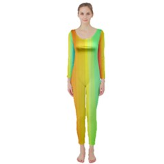 Sweet Colored Stripes Background Long Sleeve Catsuit