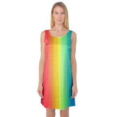 Sweet Colored Stripes Background Sleeveless Satin Nightdress