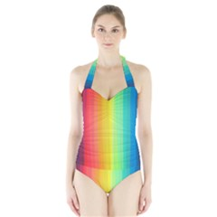 Sweet Colored Stripes Background Women s Halter One Piece Swimsuit