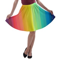 Sweet Colored Stripes Background A-line Skater Skirt
