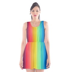 Sweet Colored Stripes Background Scoop Neck Skater Dress