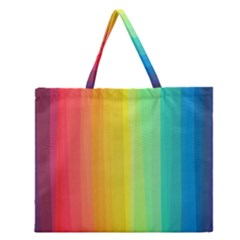 Sweet Colored Stripes Background Zipper Large Tote Bag