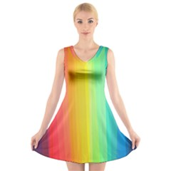 Sweet Colored Stripes Background V-Neck Sleeveless Skater Dress
