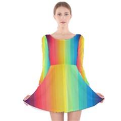 Sweet Colored Stripes Background Long Sleeve Velvet Skater Dress