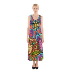 Festive Colorful Ornamental Background Sleeveless Maxi Dress