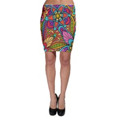 Festive Colorful Ornamental Background Bodycon Skirts