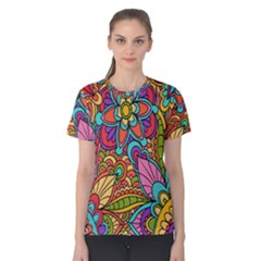 Festive Colorful Ornamental Background Women s Cotton Tee