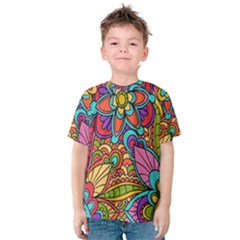 Festive Colorful Ornamental Background Kid s Cotton Tee