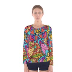 Festive Colorful Ornamental Background Women s Long Sleeve Tee