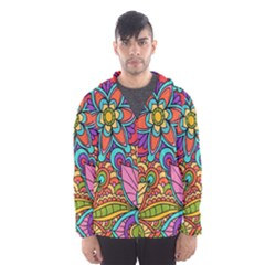 Festive Colorful Ornamental Background Hooded Wind Breaker (Men)