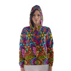 Festive Colorful Ornamental Background Hooded Wind Breaker (Women)