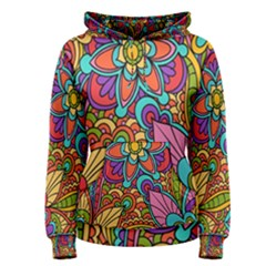 Festive Colorful Ornamental Background Women s Pullover Hoodie