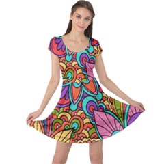 Festive Colorful Ornamental Background Cap Sleeve Dresses