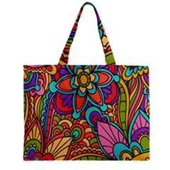 Festive Colorful Ornamental Background Zipper Mini Tote Bag