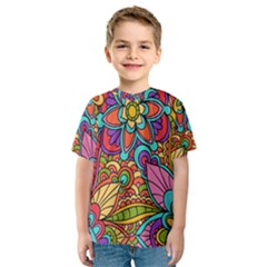 Festive Colorful Ornamental Background Kid s Sport Mesh Tee