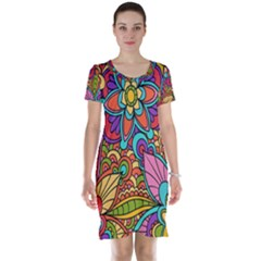 Festive Colorful Ornamental Background Short Sleeve Nightdress