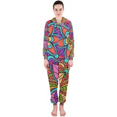 Festive Colorful Ornamental Background Hooded Jumpsuit (Ladies)