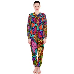 Festive Colorful Ornamental Background OnePiece Jumpsuit (Ladies)