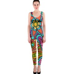 Festive Colorful Ornamental Background Onepiece Catsuit