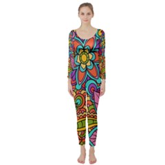 Festive Colorful Ornamental Background Long Sleeve Catsuit